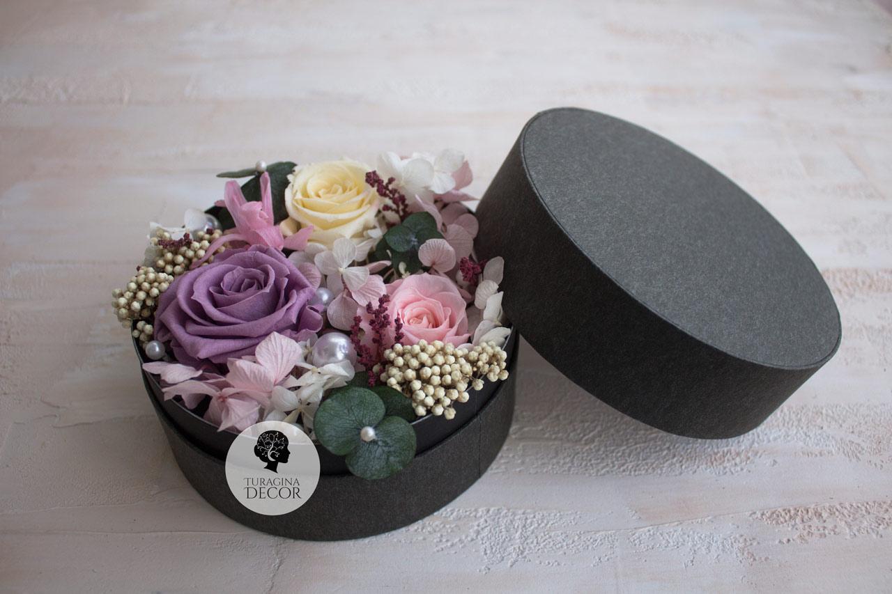 Стабилизированные-цветы-в-коробке