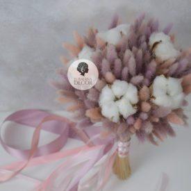 Свадебный букет с лагурусом и хлопком
